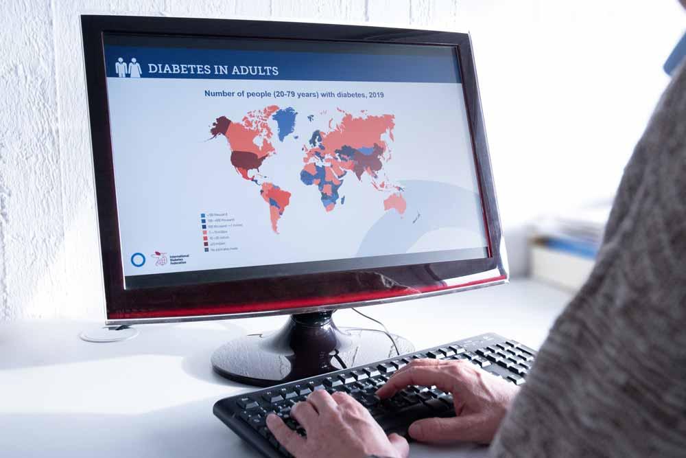 Eine Powerpoint-Präsentation, die die Anzahl von Personen mit Diabetes in 2019 zeigt