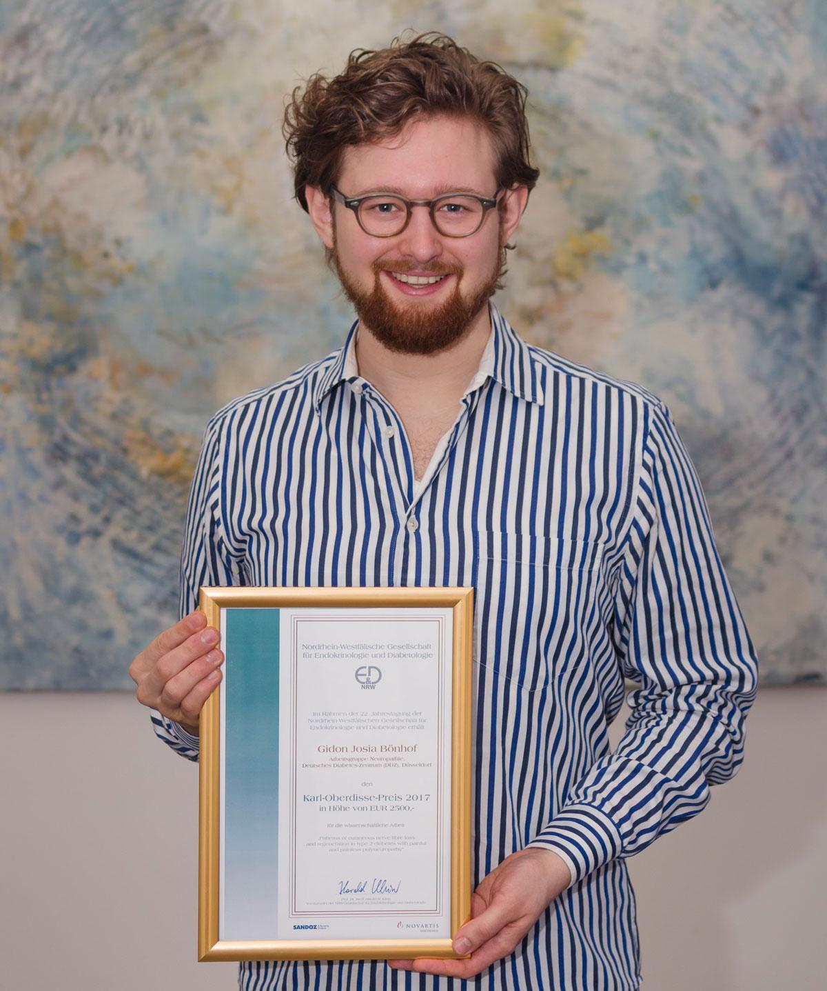 Gidon Bönhof wurde mit dem Karl-Oberdisse-Preis 2017 ausgezeichnet