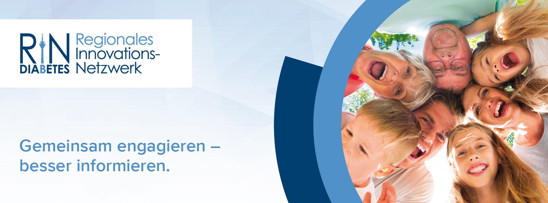 """Logo des Regionalen Innovations-Netzwerks (RIN) Diabetes mit dem Slogan """"Gemeinsam engagieren - besser informieren"""""""