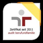 Das Logo für das Zertifikat seit 2011 audit berufundfamilie