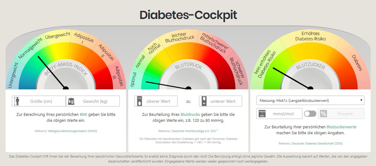 Das entwickelte Diabetes-Cockpit des DDZ besteht aus 3 Messuhren anhand derer eine Berechnung des persönlichen Body-Mass-Indexs sowie eine Beurteilung des Blutdrucks und der persönlichen Blutzuckerwerte erfolgen kann