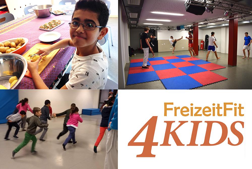 Eine Kollage von FreizeitFit4Kids: Ein Junge, der im Rahmen eines Kochkurses Kartoffeln schält, mehrere junge Männer, die an einem angeleiteten Taekwondo-Schnuppertraining in einer Turnhalle teilnehmen, mehrere Kinder, die durch eine Turnhalle laufen und das Logo von FreizeitFit4Kids